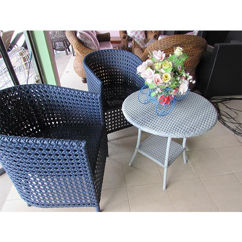 3 PIECE COFFEE TABLE SET, INCLUDES 2 X SINGLE SEAT AND 1 X COFFEE TABLE, 1.2MM ALUMINUM THAI SYNTHETIC RATTAN